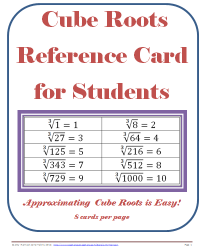 Cube Roots Reference Card Pdf Teaching Math In A Virtual Reality .
