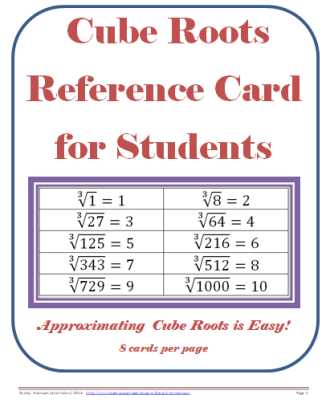 Cube Roots Reference Card (.pdf)