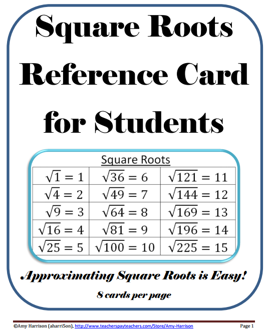 Square Roots Reference Card (1-225)   teaching math in a virtual ...