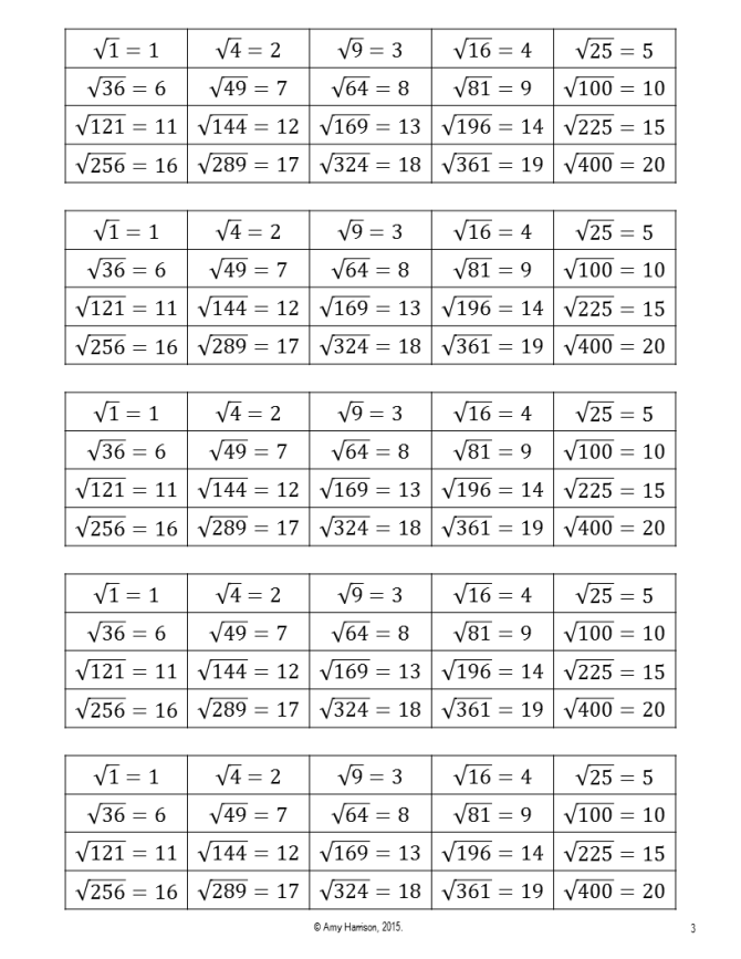 Square Roots Reference Card Teaching Math In A Virtual Reality What can i multiply by itself to get this? square roots reference card teaching
